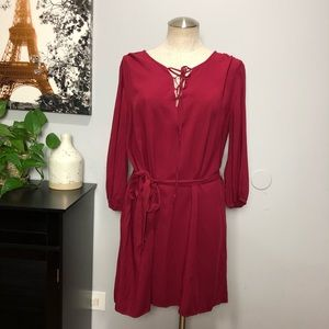 Banana Republic burgundy red tunic dress Sz L